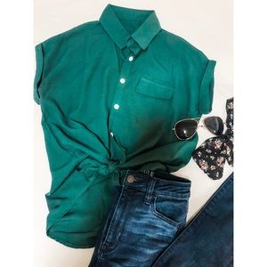 Chic Rolled Cuff Knotted Blouse